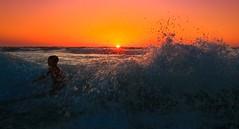 Bathing at sunset - Tel-Aviv beach (Lior. L) Tags: boy sunset sea beach telaviv wave bathing splash bathingatsunsettelavivbeach