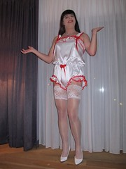 White satin teddy (Paula Satijn) Tags: sexy hot teddy satin silk shiny gurl tgirl transvestite playsuit stockings lace bow white red happy smile legs pumps girl stockingtops