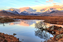 Black Mount at Sunrise (Rework) (MilesGrayPhotography (AnimalsBeforeHumans)) Tags: autumn britain canon 6d canon6d 24105 24105mmf4lisusm dawn eos europe glow glencoe blackmount iconic lochannahachlaise lochan uk landscape loch morning highlands nd outdoors photography reflections rocks rannoch rannochmoor mountains scotland sky scenic sunrise scottishhighlands waterscape wide westhighlandway freezing snow cold colours colourful