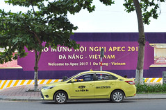 Preparing for APEC (Roving I) Tags: trees signs events transport fences taxis vietnam vehicles parked cabs danang venues constructionsites apec2017