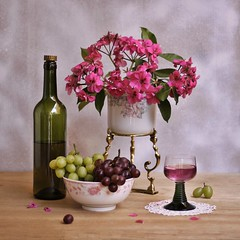 Sweet Moment (Esther Spektor - Thanks for 11+ millions views..) Tags: pink stilllife food white reflection green art glass composition canon golden stand bottle ceramics pattern wine sweet availablelight burgundy cluster stilleben bowl petal moment geranium arrangement grape doily tabletop bodegon naturemorte goblet naturamorta naturezamorta creativephotography artisticphoto estherspektor