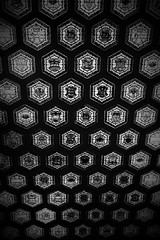 Partial Tessellation. (Wilickers) Tags: canon 60d canada ottawa parliament hexagon geometry stained glass ceiling architecture design art pattern black white vignette