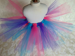 Multi-Colored Tutu for American Girl or 18 inch doll (poplinholly) Tags: pink ballerina doll hand dress purple princess handmade turquoise american ag handcrafted ribbon tulle tutu americangirl dolldress dolloutfit