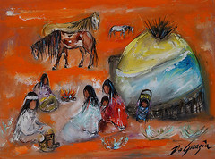 """DeGrazias Apache Collection"" (DeGrazia Gallery in the Sun) Tags: arizona sun mountain ted art museum architecture apache artist gallery desert tucson paintings knife az exhibit exhibition collection adobe oil superstition palette degrazia catalinas ettore nationalhistoricdistrict"
