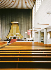 Interior of Catholic Church of St Josef, Luzern, Switzerland, 1956 (gbfernie5) Tags: vacation holiday church architecture switzerland design modernism luzern kirche 1950s 1956 kodachrome midcenturymodern midcentury postwar stjosef kirchestjosef