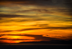 Patra's sunset (Neli S.) Tags: sunset sea sky cloud mountain clouds landscape ship outdoor dusk greece patra nikond3200 yellowsky
