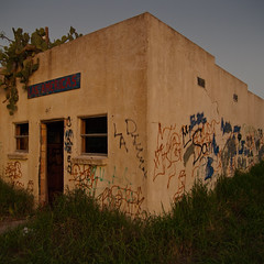 Abandoned Store, Relampago, Texas (Antonio German) Tags: door old cactus southwest color art window overgrown grass america graffiti evening texas pentax lightning pricklypear stucco riograndevalley adandoned rgv relampago