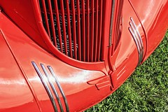 Monday, Monday—In Red (~ Liberty Images) Tags: red detail lines scarlet classiccar vintagecar automobile artdeco grille oldcar libertyimages