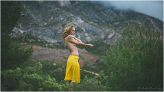 """""""The Glorious Land"""" (mattwiskas) Tags: portrait woman cloud mountain france color sexy girl look yellow female jaune montagne vintage nude french photo cool hand dress shot skin cloudy sweet bokeh robe centre femme perspective smooth peaceful pins sensual story silence portraiture jupe sensuality nuage fille personnes centered couleur peau nuageux bordure"""