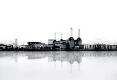 Battersea Power Station - London Urban Landscape Photography (Nicholas Goodden) Tags: urban blackandwhite bw reflection london monochrome station landscape photography milk cityscape power view famous landmarks battersea touristic urbanphotography