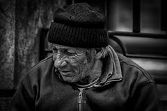 A man whose future is as gloomy as his past (Olof Virdhall) Tags: old bw white man black blackwhite sad photos poor