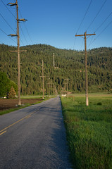 Power Pole Road! (Herringbone2) Tags: road mountain blueskies pinetrees sidestreet greengrass powerlinesandpoles selltower