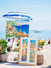 Positano (miemo) Tags: travel people italy beach spring europe campania amalficoast bokeh paintings olympus parasol positano omd olympus45mmf18 em5mkii