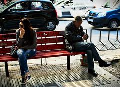 Waiting / Cekanje (mardukkk) Tags: street woman man bench greek nikon gimp greece together nikond3200 klupa grka nikoneurope nikonsrbija streethard