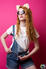 Chynna (Fight The Light) Tags: portrait sunglasses daisies photography ginger model fashionphotography kitty ears redhead portraiture kawaii denim dungarees denimshorts birminghamphotography solihullphotographer fightthelight kawaiigrungekitty dungareesshorts