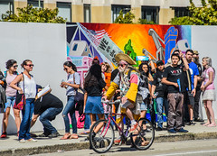 colorful supporters (pbo31) Tags: california city usa color bike northerncalifornia america oakland spring nikon colorful downtown president political rally crowd may hippy dude line bayarea candidate eastbay vote democratic memorialday alamedacounty hopeful 2016 boury berniesanders pbo31 d810