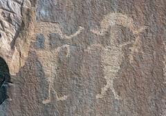 Petroglyphs along Potash Road (Ron Wolf) Tags: archaeology utah panel fremont nativeamerican moab petroglyph anthropology rockart headdress blm anthropomorph anthromorph