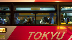 // where are we now (pnwbot) Tags: bus japan night tokyo shibuya passengers tired transportation  late  tokyu