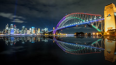 Harbour Bridge / Sydney Vivid 2016 (Young Ko) Tags: longexposure blue vacation sky seascape reflection yellow composition landscape interesting nikon colorful flickr sydney circularquay sydneyoperahouse sydneyharbourbridge vividfestival sydneyvivid2016