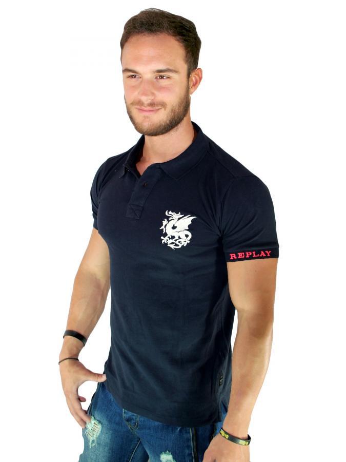 REPLAY Ανδρική κοντομάνικη slim fit πικέ πόλο μπλούζα (toptenfashion gr)  Tags  slim fit replay dfeb0876041