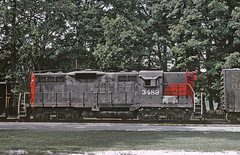 Southern Pacific 3489 (GP9) dead in transit on RF&P, Ashland, VA in September 1971 (railfan 44) Tags: southernpacific