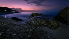 Midnight Sky (Andris Nikolajevs) Tags: sunset sea sky seascape beach water night denmark coast sand rocks europe nightscape coastline nightsky fyn nyborg