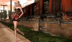By The Tracks (Jamee Sandalwood - Miss V SWEDEN 2015) Tags: fashion train outside outdoors blog 500v20f dress blogger sl secondlife virtual pixel blonde heels casual chic couture artphotography slfashion fashionartphotography lavian