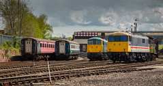 Electric Barrow Hill - 29-04-2015 (kevaruka) Tags: uk england color colour colors composition train canon spring flickr colours diesel britain united hill great rail railway kingdom trains front class 03 page april mk2 british locomotive network preserved chesterfield barrow preservation 68 hydraulic roundhouse shunter 2015 drs 20905 hymek stavely gbrf 68001 03066 g1x thephotographyblog ilobsterit 16042015