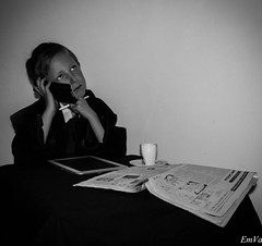 Little businessman (Lalykse) Tags: boy portrait bw white black cup tasse coffee look businessman newspaper kid noir phone ben telephone journal son shooting benjamin 1855 littleboy enfant blanc tab regard fils nikond3200 charliehebdo tablette garã§on cafã© jesuischarlie petitgarã§on tã©lã©phone