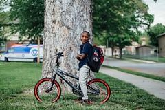 Whittier Elementary Bike to School Day 2015 (BikeWalkKC) Tags: school guy bike kids print blind bikes jim walktoschool kidsbike saferoutes