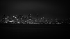 SF Skyline (1 of 1) (World-viewer) Tags: sf california sky blackandwhite bw white seascape black art water monochrome beautiful rain fog skyline architecture night clouds buildings island lights bay nice marine san francisco downtown nightimages cityscape nightlights treasure artistic outdoor sony ngc north shoreline images area a6000 ilce6000