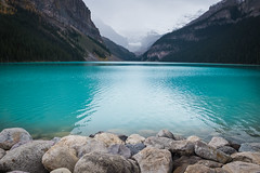 Lake Louise (flippers) Tags: ca mountain lake canada forest calm alberta valley lakelouise improvementdistrictno9