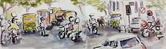 Rush Hour in Bangalore (jwinstead) Tags: urban pen ink watercolor sketch brushpen