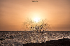 Embrace The Sun (Fredrik Lindedal) Tags: ocean sky sun water skyline sunrise nikon rocks outdoor wave malta splash warmlight onewithnature lindedal