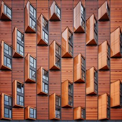 Toblerone Town (Paul Brouns) Tags: wood windows brown london art up lines architecture facade paul pattern looking geometry chocolate lookup architektur straight toblerone architectuur traingles brouns paulbrouns paulbrounscom