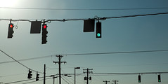 Lights and lines. (2c..) Tags: road city blue red sky urban usa abstract green america lights traffic lexington kentucky clear poles fayette reynolds 2c
