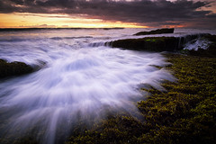 Almost Dark in Lima Beach (eggysayoga) Tags: sunset sky bali cloud seascape motion beach indonesia lens landscape moss asia fuji lima cloudy ss wide hard wave foliage filter 09 lee nd slowshutter cs fujifilm f2 12mm ultrawide bower pantai graduated ncs f20 gnd canggu samyang seseh xt1 rokinon