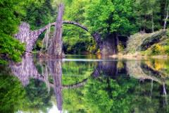 Rakotz Bridge, (1 of 2) (louelke - home again) Tags: bridge water germany arch stones spires devilsbridge kromlau circlereflection rakotzbridge