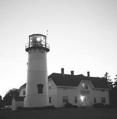Chatham Lighthouse at Dusk (John's Vintage Cameras) Tags: lighthouse 6x6 film analog vintage square blackwhite capecod massachusetts agfa ilford fp4 ansco isolette speedex foldingcamera madeingermany