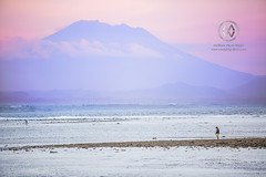Mount Agung looms in the distance at sunset. (wrightontheroad) Tags: mountagung fishermen fishing mtagung volcano sanur bali indonesia