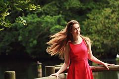 Un petit vent de fraicheur (Batrice Dordain) Tags: photographie portrait portraiture women fille femme fort female forest feuillage femalephotographer femaleportrait dress reddress hair wind freshness