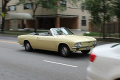 Determined (Flint Foto Factory) Tags: chicago illinois urban city summer august 2016 north edgewater saturday afternoon noon 1966 1967 chevrolet chevy corvair monza convertible buttercup yellow moving motion inmotion drop soft rag top classic generalmotors gm sporty compact threequarter view rearengine ralphnader nadir neighborhood worldcars 1965