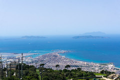 Port of Trapani from Erice (nadeeshacabral) Tags: sicily erice italy sea sky summer blue port trapani sony a6000