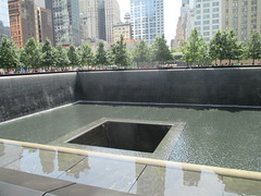 World Trade Center Memorial Fountains 2016 NYC 4359 (Brechtbug) Tags: 911 memorial fountain lower manhattan 2016 nyc footprint world trade center wtc ground zero september 11 2001 downtown new york city 2011 fdny public monument art fountains 08272016 foot print freedom tower today west skyscraper building buildings towers reflection pool water falls waterfalls wall walls pools tier tiered 15 years fifteen five