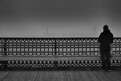 End of the pier ! (CJS*64) Tags: people bw monochrome person mono pier stand blackwhite seaside nikon watch watching lancashire nikkor dslr stannes cjs whiteblack nikkorlens 18mm105mmlens d3100 nikond3100 craigsunter cjs64