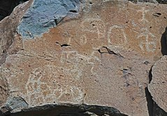 Petroglyphs / Funeral Peak Site (Ron Wolf) Tags: california abstract archaeology circle nationalpark panel nativeamerican petroglyph anthropology rockart deathvalleynationalpark anthropomorph anthromorph meanderingline