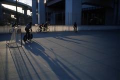 blue shadows (rikitko) Tags: shadow 35mm kodak contax kobe 135 t3 portra 800 bikepolo contaxt3 sonnar carlzeiss portra800 posi 35mmf28 minatonomori