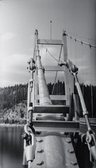 Dent Bridge Closeup (bac1967) Tags: county camera bridge blackandwhite film monochrome mystery photography 1 stand day suspension reservoir pinhole dent semi iso idaho worldwide hour roll converted medium format 12 rodinal expired voightlander length developed development exposed 116 clearwater 135mm 1100 develop 616 focal wppd diameter semistand adonal 05mm dworshack f270