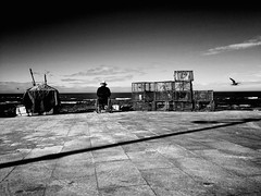 Old Fisherman (Ricardas Jarmalavicius) Tags: travel sea people blackandwhite portugal monochrome photography mar flickr noiretblanc outdoor tranquility silence pretoebranco pescador photooftheday 500px popphotocom flickrheroes jarmalavicius adorenoir 121clicks ricardasjarmalavicius