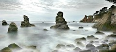 The Sea Gods of Cala dels Frares (Christian_from_Berlin) Tags: barcelona longexposure sea vacation panorama seascape sunrise coast spain meer europe sony magic girona coastline cala spanien lloretdemar grayfilter magicalatmosphere caladelsfrares sonyrx100m2